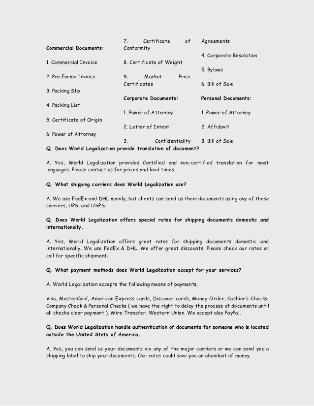 application for authentication of documents