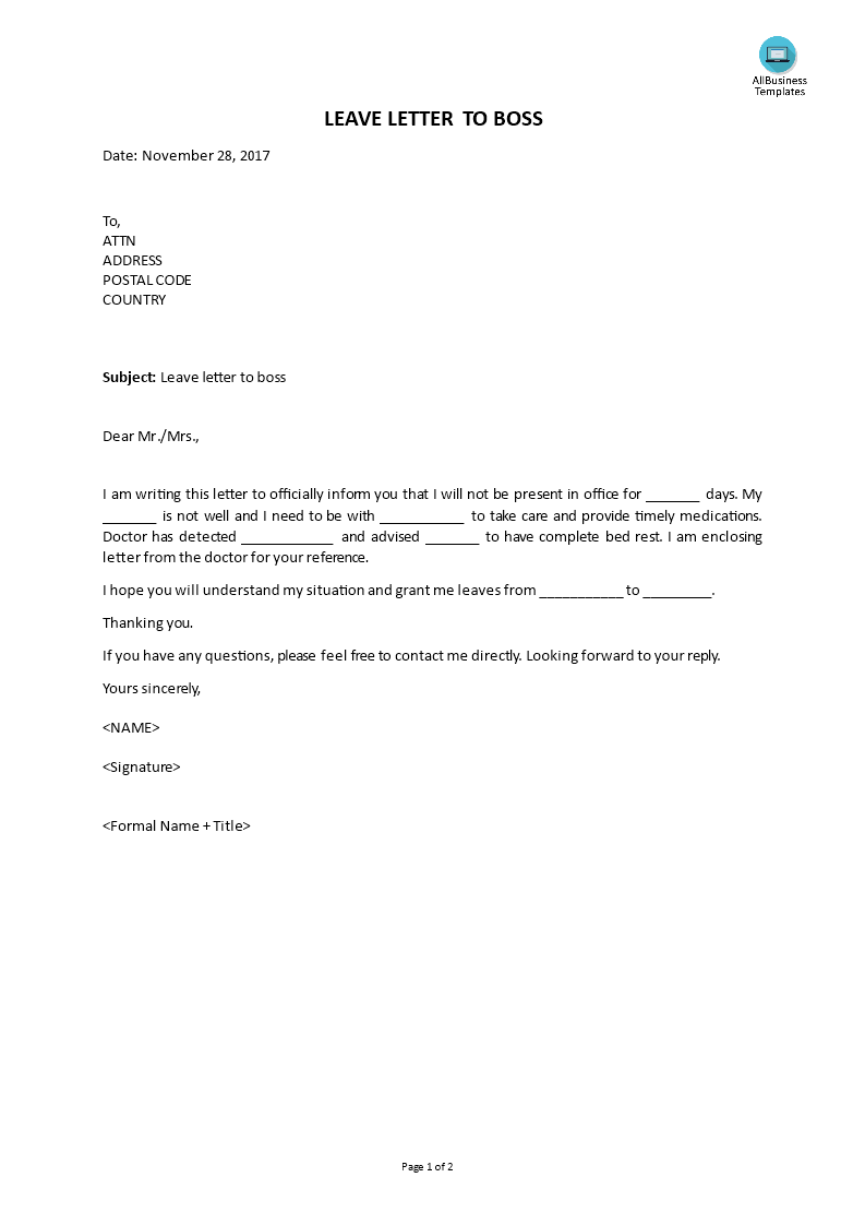 how to write leave application to boss