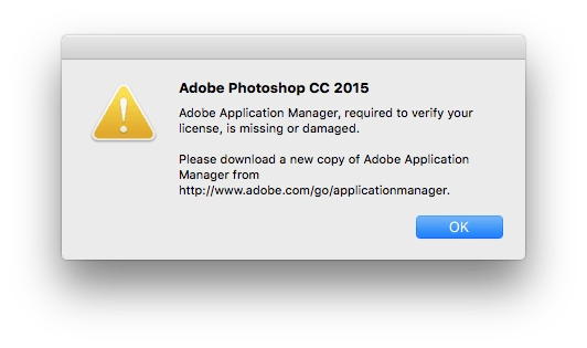 adobe application manager is missing or damaged