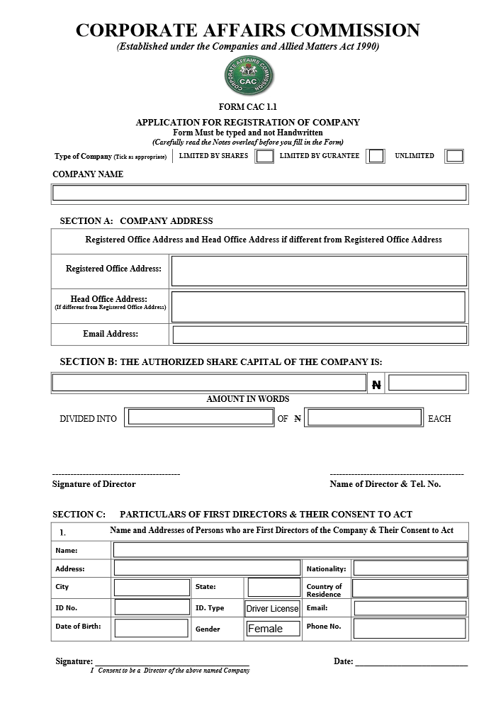 act application for a driver licence form