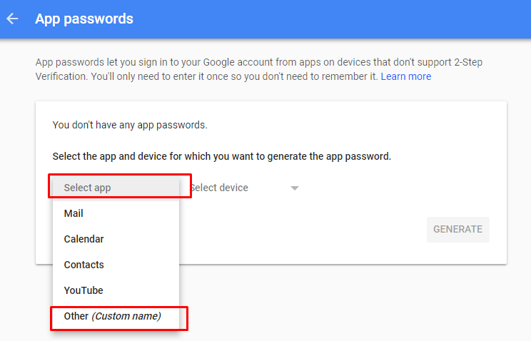 application specific password required gmail